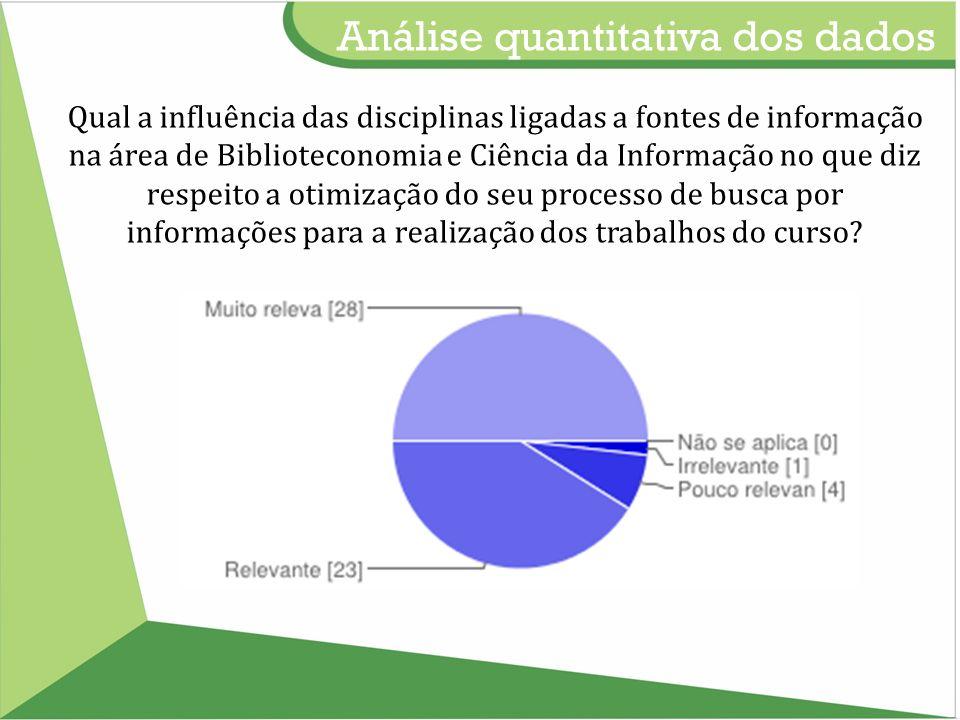 Qual a influência das disciplinas ligadas a fontes de informação na área de Biblioteconomia e Ciência da Informação no que diz respeito a otimização do seu processo de busca por informações para a realização dos trabalhos do curso.