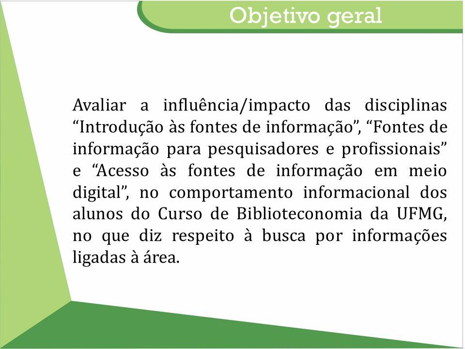 Objetivo geral Avaliar a influência/impacto das disciplinas Introdução às fontes de informação, Fontes de informação para pesquisadores e profissionai