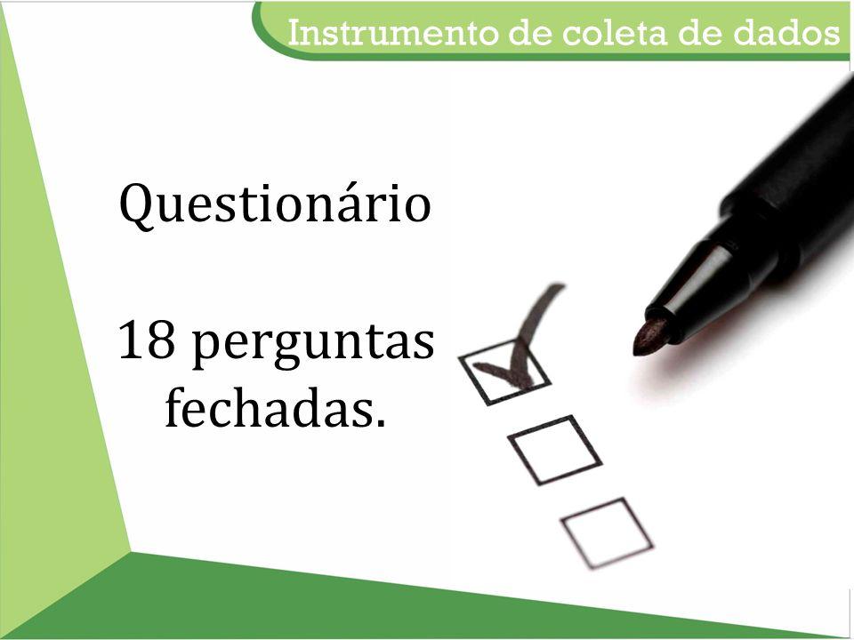 Instrumento de coleta de dados Questionário 18 perguntas fechadas.