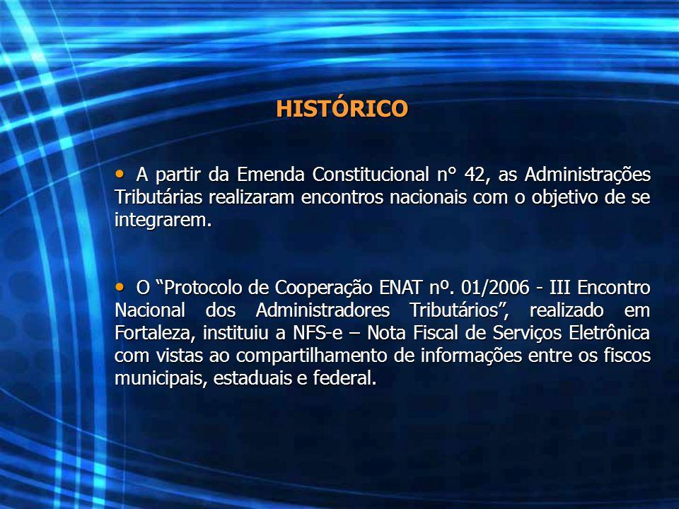 HISTÓRICO A partir da Emenda Constitucional n° 42, as Administrações Tributárias realizaram encontros nacionais com o objetivo de se integrarem. A par