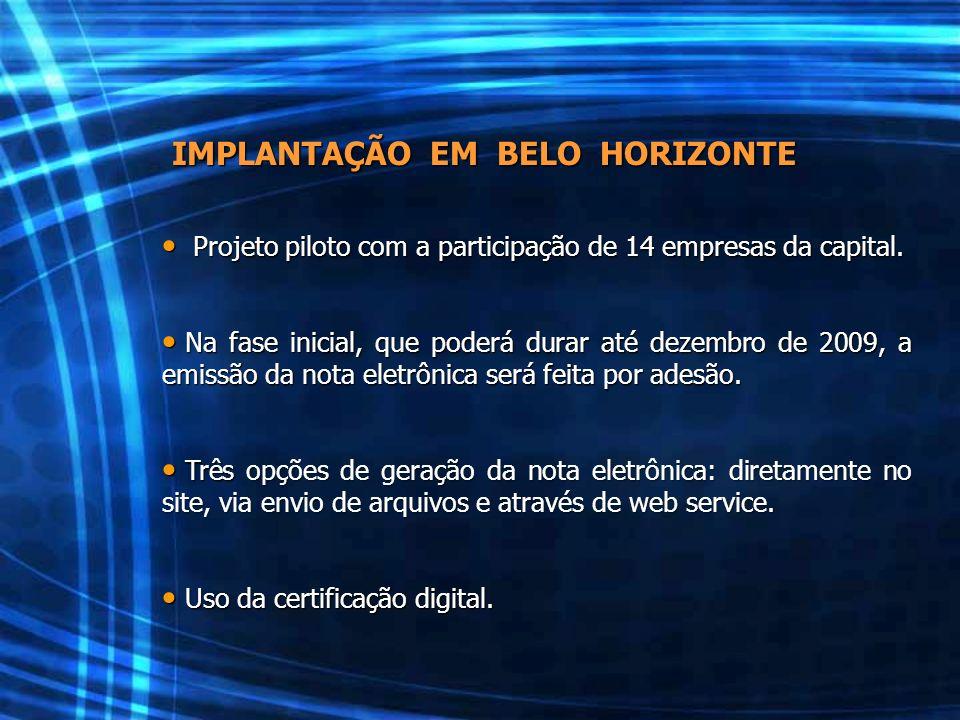 IMPLANTAÇÃO EM BELO HORIZONTE Projeto piloto com a participação de 14 empresas da capital. Projeto piloto com a participação de 14 empresas da capital
