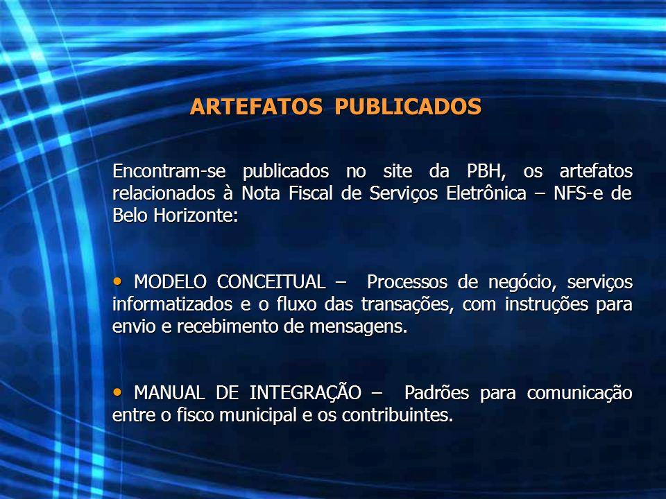 ARTEFATOS PUBLICADOS Encontram-se publicados no site da PBH, os artefatos relacionados à Nota Fiscal de Serviços Eletrônica – NFS-e de Belo Horizonte: