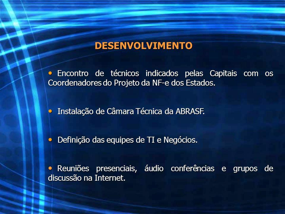 DESENVOLVIMENTO Encontro de técnicos indicados pelas Capitais com os Coordenadores do Projeto da NF-e dos Estados. Encontro de técnicos indicados pela