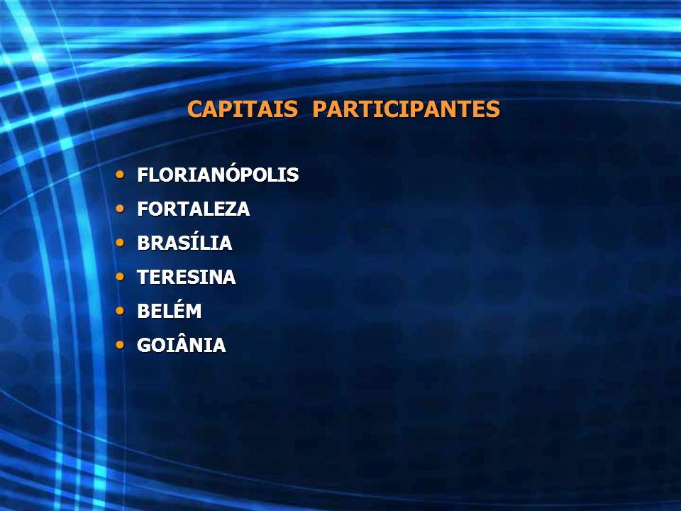 CAPITAIS PARTICIPANTES FLORIANÓPOLIS FLORIANÓPOLIS FORTALEZA FORTALEZA BRASÍLIA BRASÍLIA TERESINA TERESINA BELÉM BELÉM GOIÂNIA GOIÂNIA