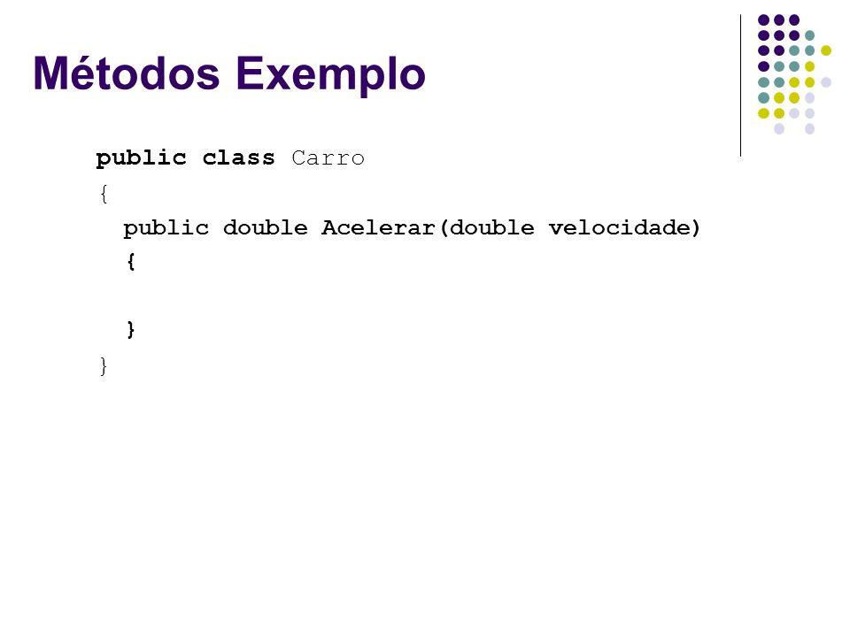 Métodos Exemplo public class Carro { public double Acelerar(double velocidade) { }