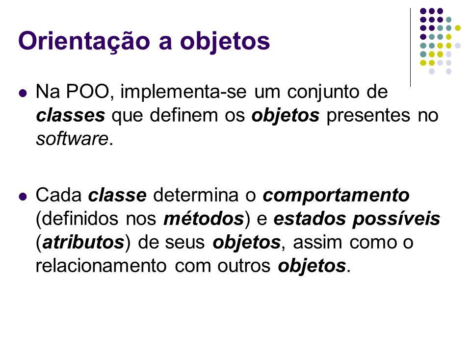Orientação a objetos Na POO, implementa-se um conjunto de classes que definem os objetos presentes no software. Cada classe determina o comportamento