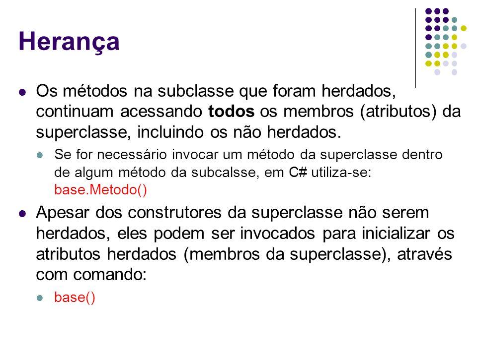 Herança Os métodos na subclasse que foram herdados, continuam acessando todos os membros (atributos) da superclasse, incluindo os não herdados. Se for