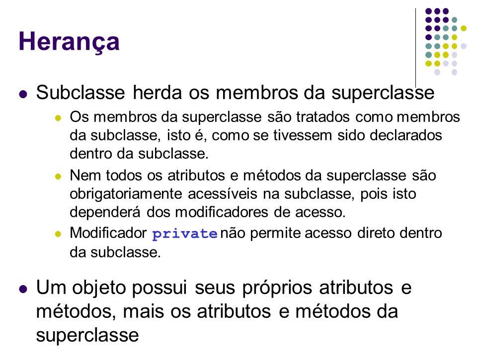 Herança Subclasse herda os membros da superclasse Os membros da superclasse são tratados como membros da subclasse, isto é, como se tivessem sido decl