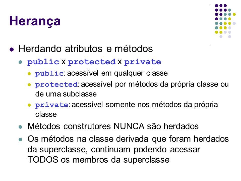Herança Herdando atributos e métodos public x protected x private public : acessível em qualquer classe protected : acessível por métodos da própria c