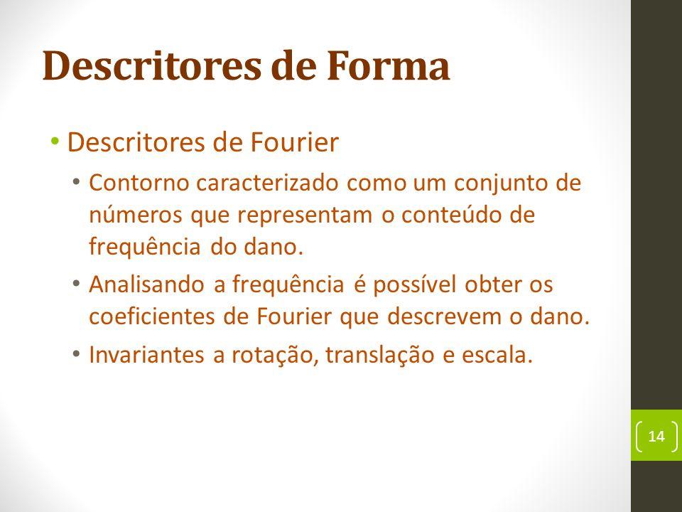 Descritores de Forma Descritores de Fourier Contorno caracterizado como um conjunto de números que representam o conteúdo de frequência do dano.