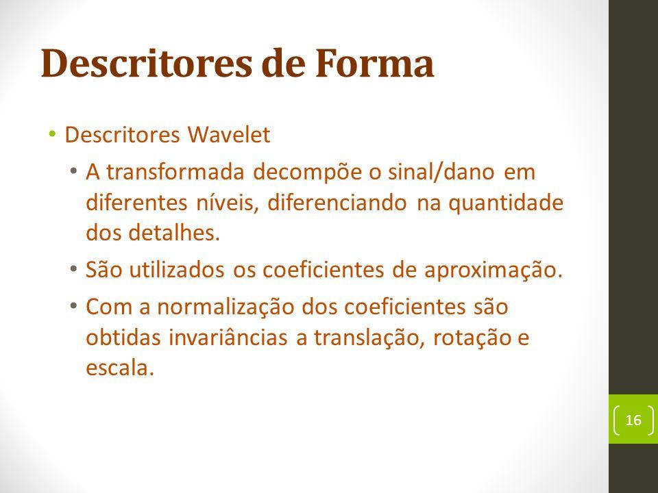 Descritores de Forma Descritores Wavelet A transformada decompõe o sinal/dano em diferentes níveis, diferenciando na quantidade dos detalhes.