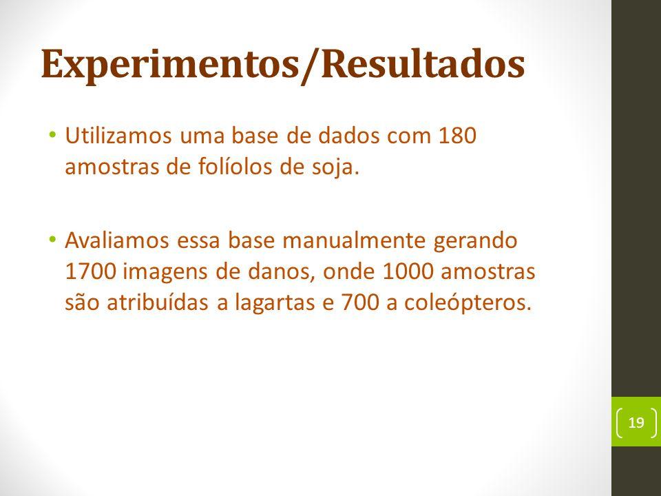 Experimentos/Resultados Utilizamos uma base de dados com 180 amostras de folíolos de soja.