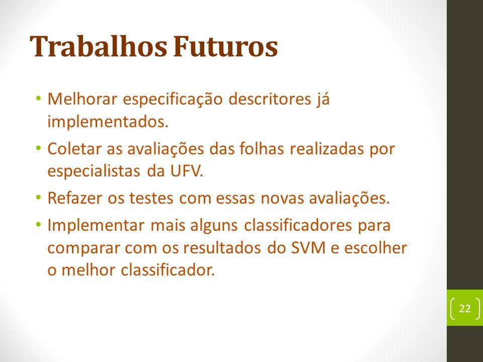 Trabalhos Futuros Melhorar especificação descritores já implementados.