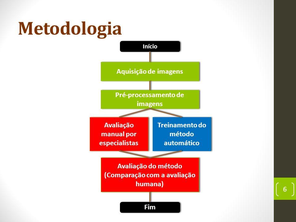 Metodologia 6 Início Fim Aquisição de imagens Pré-processamento de imagens Avaliação manual por especialistas Treinamento do método automático Avaliação do método (Comparação com a avaliação humana)