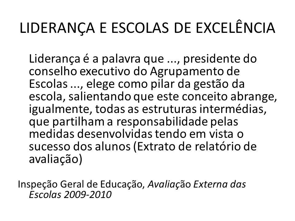 LIDERANÇA E ESCOLAS DE EXCELÊNCIA Liderança é a palavra que..., presidente do conselho executivo do Agrupamento de Escolas..., elege como pilar da gestão da escola, salientando que este conceito abrange, igualmente, todas as estruturas intermédias, que partilham a responsabilidade pelas medidas desenvolvidas tendo em vista o sucesso dos alunos (Extrato de relatório de avaliação) Inspeção Geral de Educação, Avaliação Externa das Escolas 2009-2010