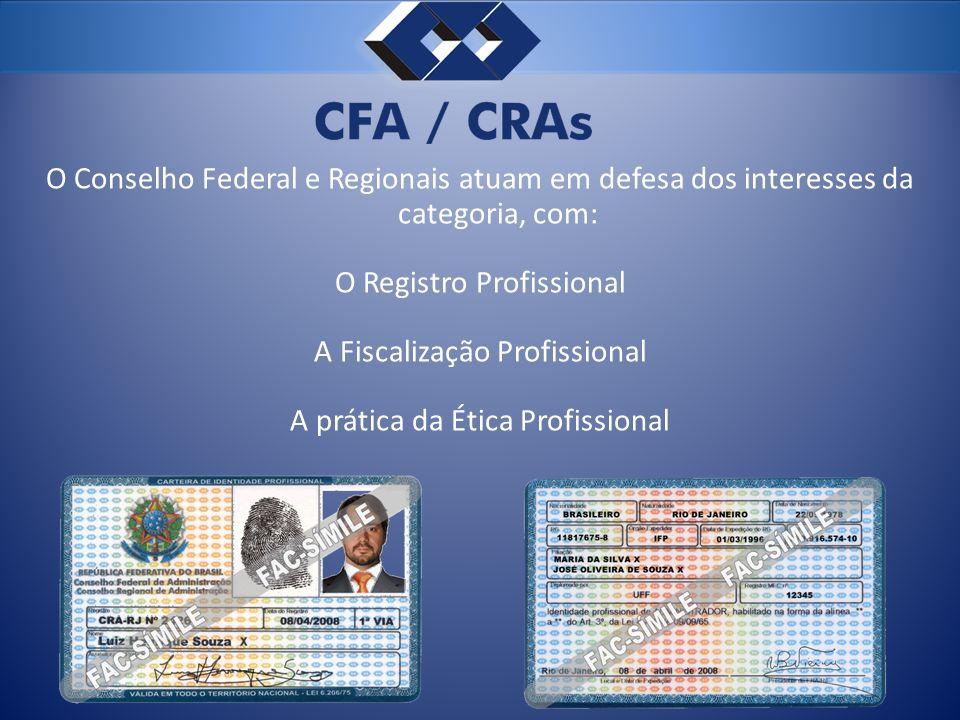 O Conselho Federal e Regionais atuam em defesa dos interesses da categoria, com: O Registro Profissional A Fiscalização Profissional A prática da Ética Profissional