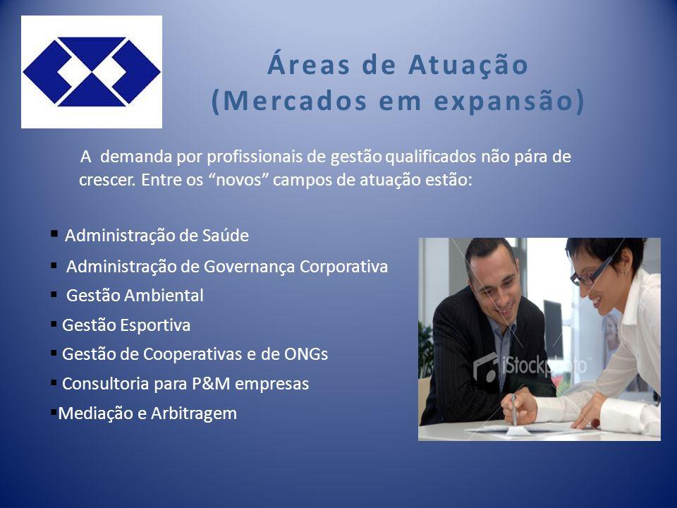 Áreas de Atuação (Mercados em expansão) A demanda por profissionais de gestão qualificados não pára de crescer.