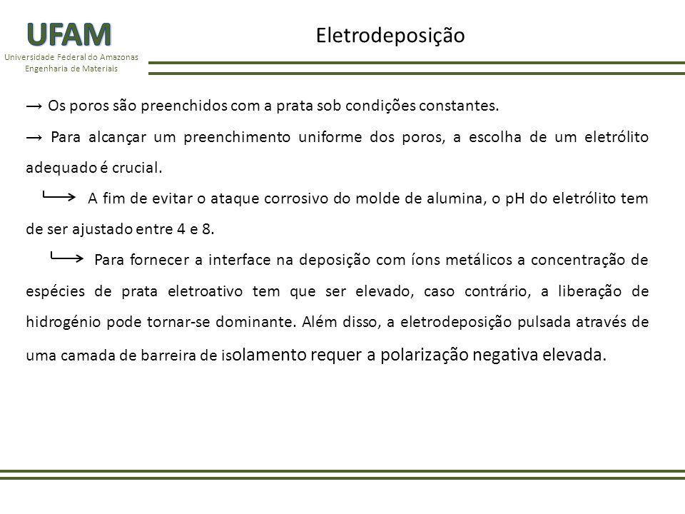 Universidade Federal do Amazonas Engenharia de Materiais Os poros são preenchidos com a prata sob condições constantes.