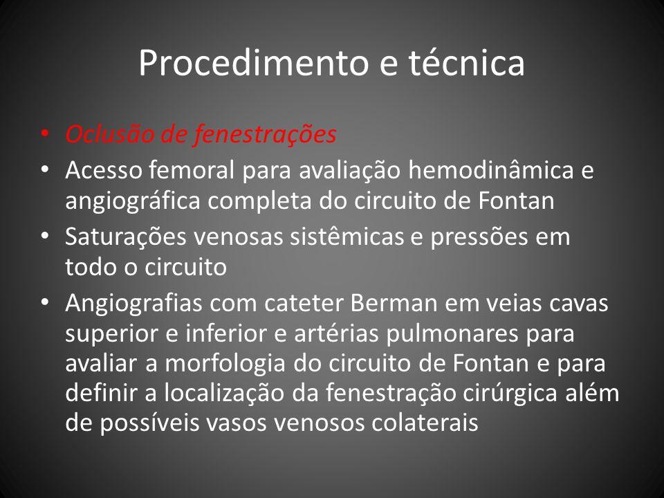Procedimento e técnica Oclusão de fenestrações Acesso femoral para avaliação hemodinâmica e angiográfica completa do circuito de Fontan Saturações ven