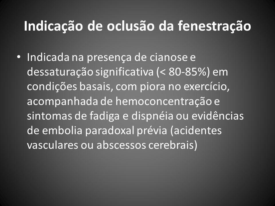Indicação de oclusão da fenestração Indicada na presença de cianose e dessaturação significativa (< 80-85%) em condições basais, com piora no exercíci