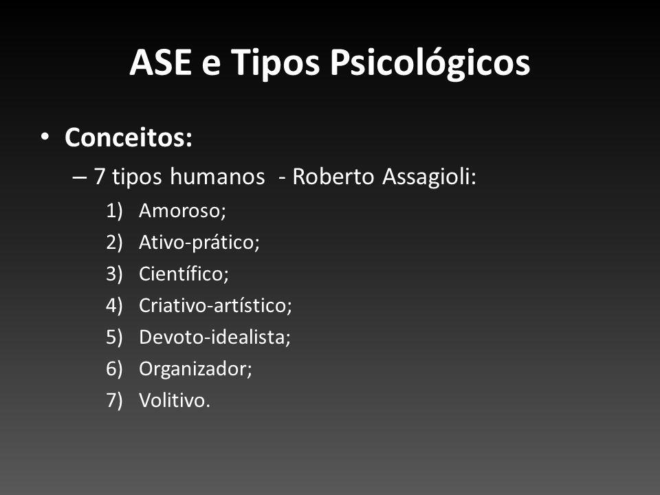 ASE e Tipos Psicológicos Conceitos: – 7 tipos humanos - Roberto Assagioli: 1)Amoroso; 2)Ativo-prático; 3)Científico; 4)Criativo-artístico; 5)Devoto-id