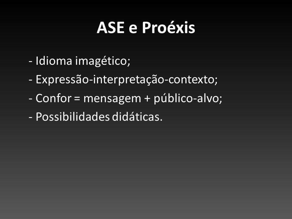 ASE e Proéxis - Idioma imagético; - Expressão-interpretação-contexto; - Confor = mensagem + público-alvo; - Possibilidades didáticas.