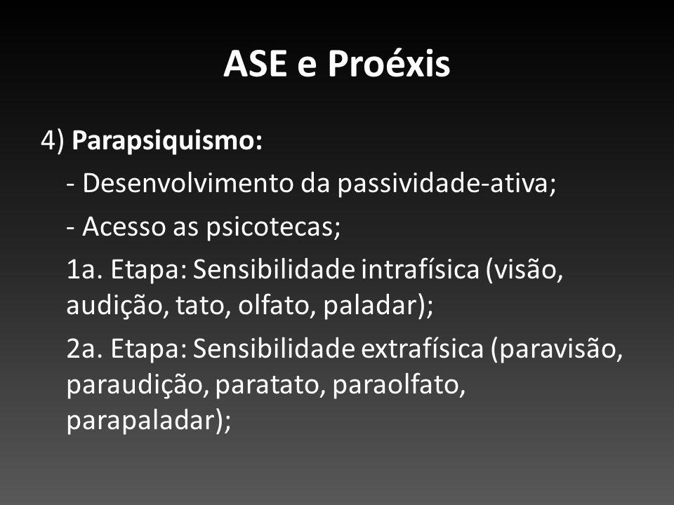 ASE e Proéxis 4) Parapsiquismo: - Desenvolvimento da passividade-ativa; - Acesso as psicotecas; 1a. Etapa: Sensibilidade intrafísica (visão, audição,