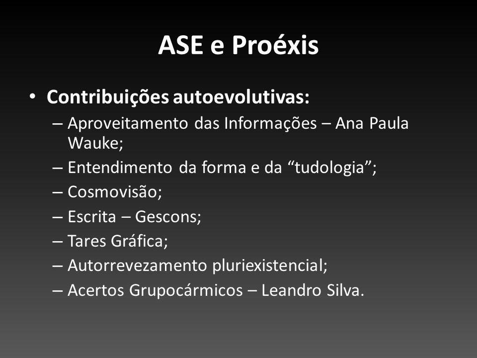 Contribuições autoevolutivas: – Aproveitamento das Informações – Ana Paula Wauke; – Entendimento da forma e da tudologia; – Cosmovisão; – Escrita – Ge