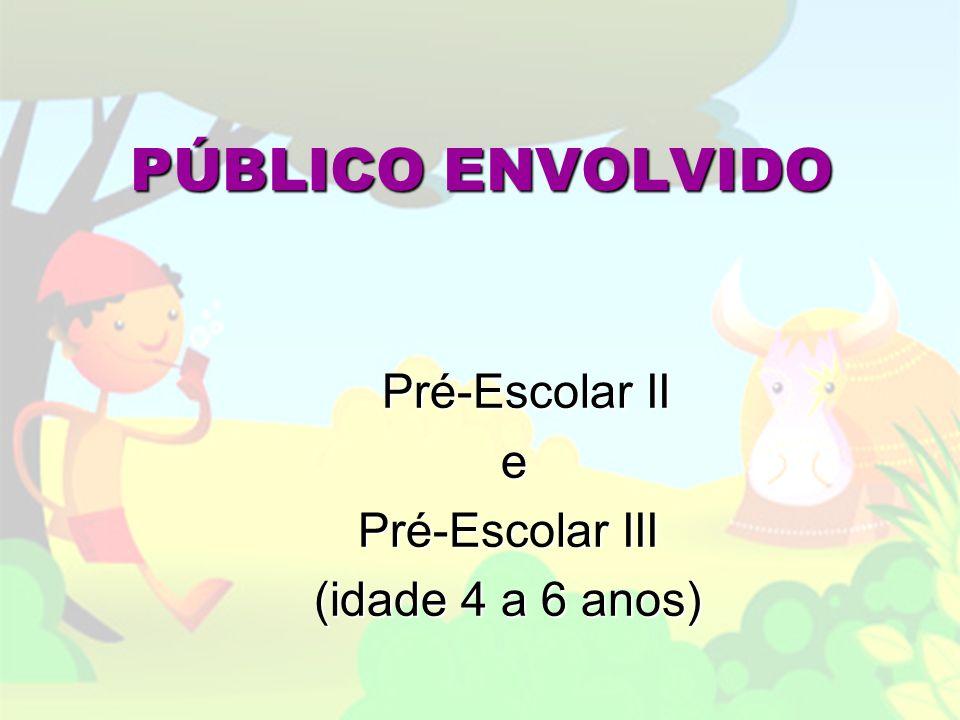 PÚBLICO ENVOLVIDO Pré-Escolar II Pré-Escolar II e Pré-Escolar III (idade 4 a 6 anos)