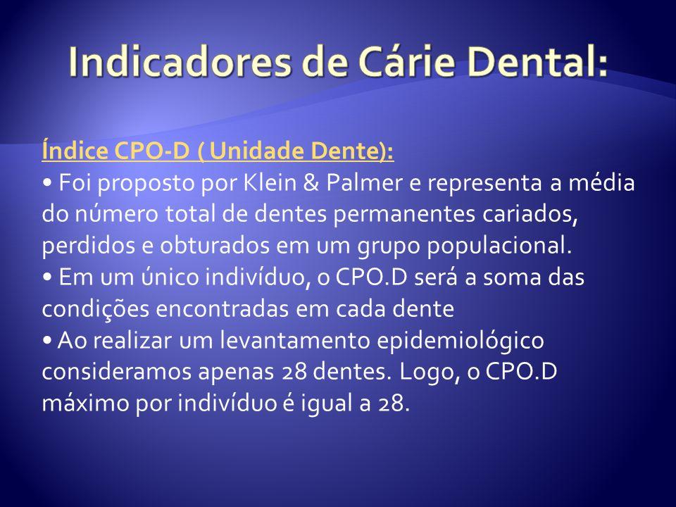 Índice CPO-D ( Unidade Dente): Foi proposto por Klein & Palmer e representa a média do número total de dentes permanentes cariados, perdidos e obturad