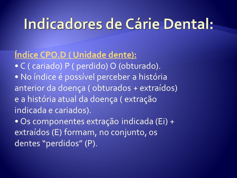 Índice CPO.D ( Unidade dente): C ( cariado) P ( perdido) O (obturado). No índice é possível perceber a história anterior da doença ( obturados + extra