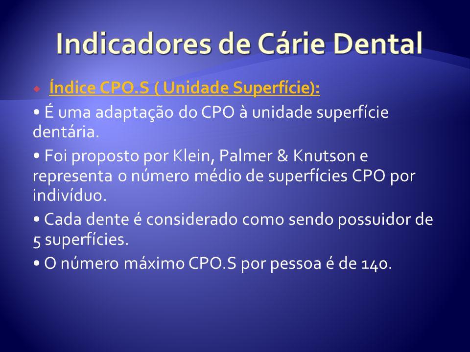 Índice CPO.S ( Unidade Superfície): É uma adaptação do CPO à unidade superfície dentária. Foi proposto por Klein, Palmer & Knutson e representa o núme
