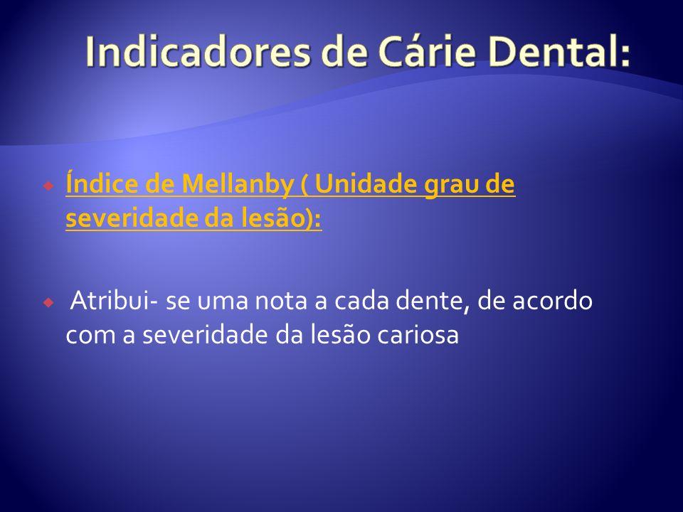 Índice de Mellanby ( Unidade grau de severidade da lesão): Atribui- se uma nota a cada dente, de acordo com a severidade da lesão cariosa