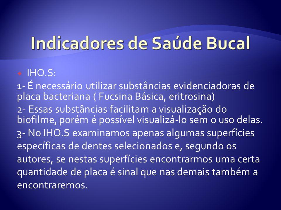 IHO.S: 1- É necessário utilizar substâncias evidenciadoras de placa bacteriana ( Fucsina Básica, eritrosina) 2- Essas substâncias facilitam a visualiz