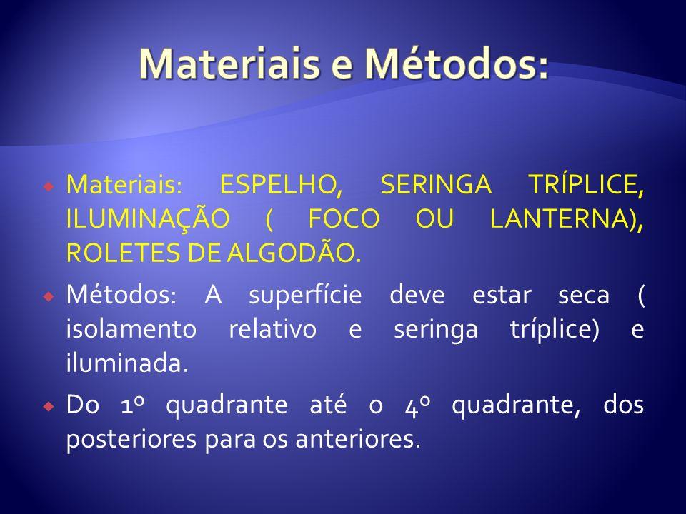 Materiais: ESPELHO, SERINGA TRÍPLICE, ILUMINAÇÃO ( FOCO OU LANTERNA), ROLETES DE ALGODÃO. Métodos: A superfície deve estar seca ( isolamento relativo