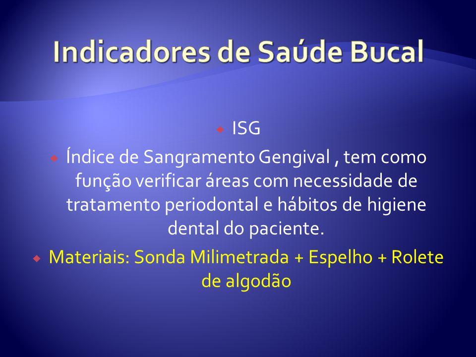 ISG Índice de Sangramento Gengival, tem como função verificar áreas com necessidade de tratamento periodontal e hábitos de higiene dental do paciente.