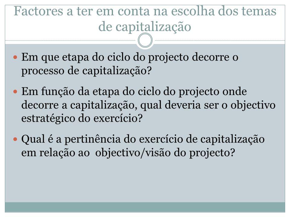 Factores a ter em conta na escolha dos temas de capitalização Em que etapa do ciclo do projecto decorre o processo de capitalização? Em função da etap