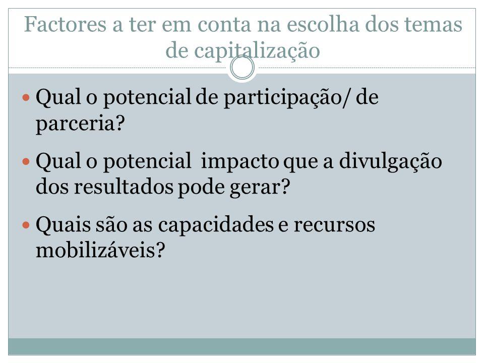 Qual o potencial de participação/ de parceria? Qual o potencial impacto que a divulgação dos resultados pode gerar? Quais são as capacidades e recurso