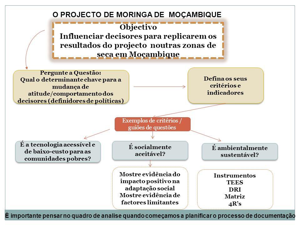 Objectivo Influenciar decisores para replicarem os resultados do projecto noutras zonas de seca em Moçambique Pergunte a Questão: Qual o determinante