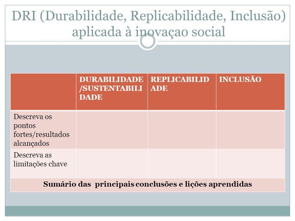 DRI (Durabilidade, Replicabilidade, Inclusão) aplicada à inovaçao social DURABILIDADE /SUSTENTABILI DADE REPLICABILID ADE INCLUSÃO Descreva os pontos