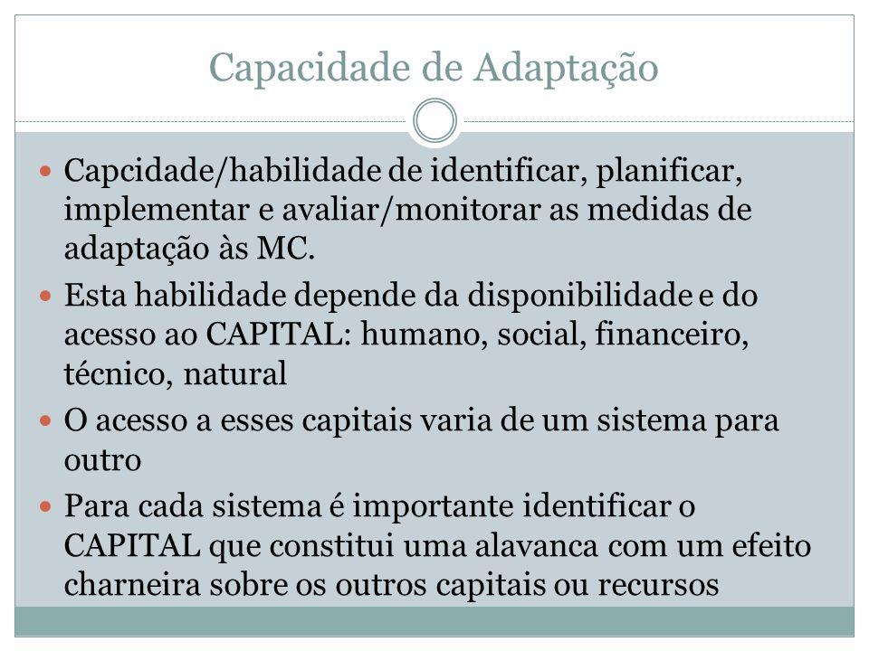 Capacidade de Adaptação Capcidade/habilidade de identificar, planificar, implementar e avaliar/monitorar as medidas de adaptação às MC. Esta habilidad