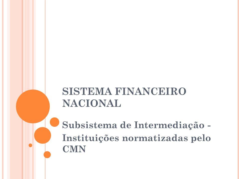 SISTEMA FINANCEIRO NACIONAL Subsistema de Intermediação - Instituições normatizadas pelo CMN