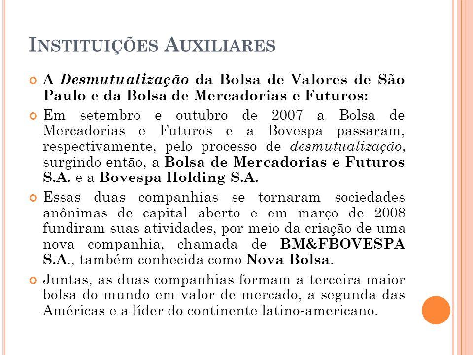I NSTITUIÇÕES A UXILIARES A Desmutualização da Bolsa de Valores de São Paulo e da Bolsa de Mercadorias e Futuros: Em setembro e outubro de 2007 a Bols