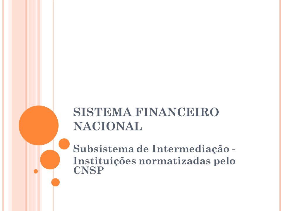 SISTEMA FINANCEIRO NACIONAL Subsistema de Intermediação - Instituições normatizadas pelo CNSP