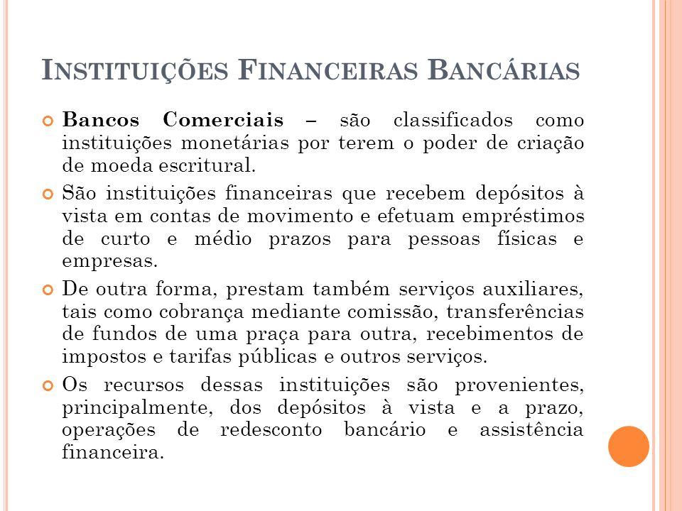 I NSTITUIÇÕES F INANCEIRAS B ANCÁRIAS Bancos Comerciais – são classificados como instituições monetárias por terem o poder de criação de moeda escritu