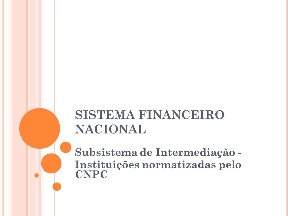 SISTEMA FINANCEIRO NACIONAL Subsistema de Intermediação - Instituições normatizadas pelo CNPC