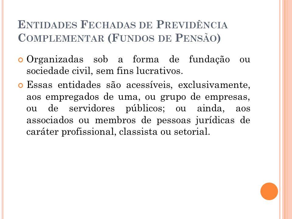 E NTIDADES F ECHADAS DE P REVIDÊNCIA C OMPLEMENTAR (F UNDOS DE P ENSÃO ) Organizadas sob a forma de fundação ou sociedade civil, sem fins lucrativos.