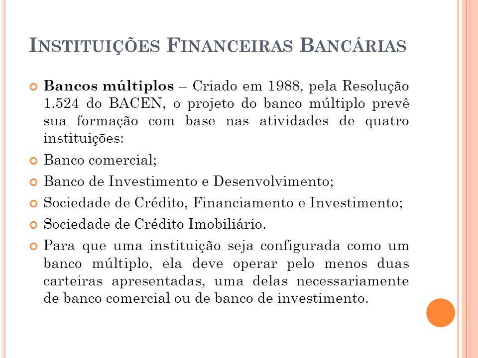 I NSTITUIÇÕES F INANCEIRAS B ANCÁRIAS Bancos múltiplos – Criado em 1988, pela Resolução 1.524 do BACEN, o projeto do banco múltiplo prevê sua formação
