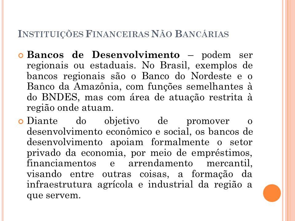 I NSTITUIÇÕES F INANCEIRAS N ÃO B ANCÁRIAS Bancos de Desenvolvimento – podem ser regionais ou estaduais. No Brasil, exemplos de bancos regionais são o