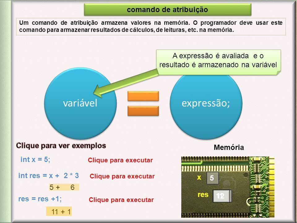 variávelexpressão; A expressão é avaliada e o resultado é armazenado na variável int x = 5; 5 int res = x + 2 * 3 Memória 11 5 + 6 res = res +1; 12 x